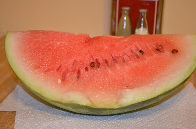 Fresh watermelon, third one this season, very refreshing on a hot, muggy day in the South.